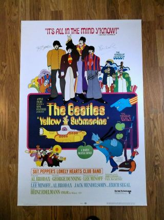 """Beatles Autographed Yellow Submarine Rock Poster 40""""x27"""""""