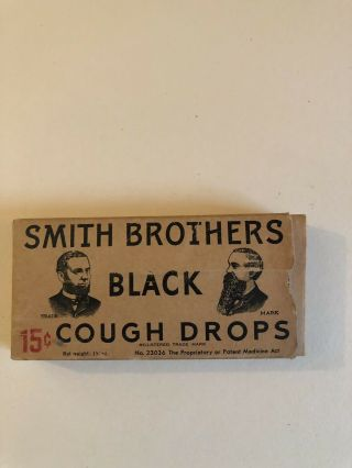 Vintage Smith Brothers Black Cough Drops W/ Cough Drops Still In The Package