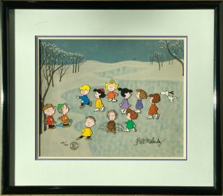 Peanuts Animation Hand Painted Cel - Great Skate Signed Bill Melendez