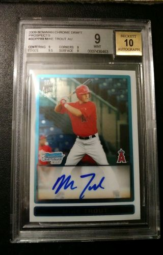 2009 Bowman Chrome Draft Mike Trout Rookie Rc Bgs 9 10 Auto Psa 10 Invest$