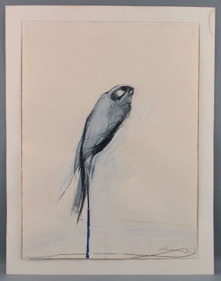 Mid - Century Nathan Oliveira Mixed Media Painting Gouache & Charcoal Perched Hawk 2