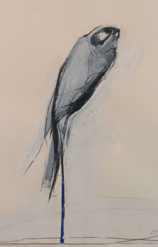 Mid - Century Nathan Oliveira Mixed Media Painting Gouache & Charcoal Perched Hawk 4