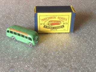 Vintage Matchbox Series 21 A Moko Lesney Product Transit Bus With Box