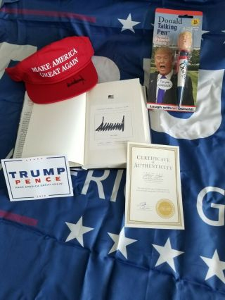 President Donald J Trump Signed Make America Great Again Hat And Book Loa