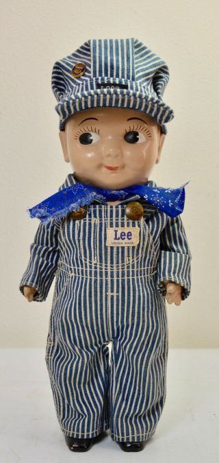Vtg Buddy Lee Hard Plastic Railroad Doll Union Made Striped Overalls Scarf Hat
