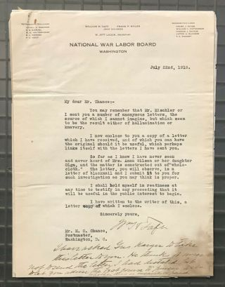 President William H.  Taft Signed 1918 Letter Re: Blackmail Psa/dna Loa Autograph