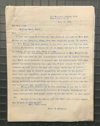 President William H.  Taft Signed 1918 Letter RE: Blackmail PSA/DNA LOA Autograph 3
