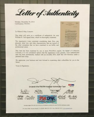 President William H.  Taft Signed 1918 Letter RE: Blackmail PSA/DNA LOA Autograph 5