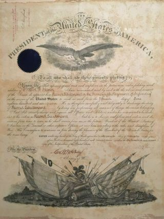 1877 Rutherford B Hayes,  President,  Military,  Army Commission Document Signed