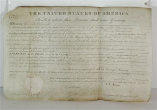 1826 President John Quincy Adams Signed Document - Indiana Territory Land Grant