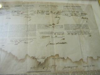Presidents JAMES MADISON JAMES MONROE Dual AUTOGRAPH Ship ' s Papers SIGNED 1812 2