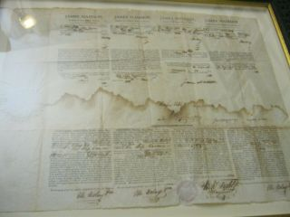 Presidents JAMES MADISON JAMES MONROE Dual AUTOGRAPH Ship ' s Papers SIGNED 1812 3