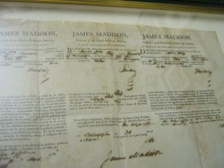 Presidents JAMES MADISON JAMES MONROE Dual AUTOGRAPH Ship ' s Papers SIGNED 1812 5