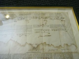 Presidents JAMES MADISON JAMES MONROE Dual AUTOGRAPH Ship ' s Papers SIGNED 1812 6