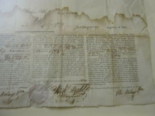 Presidents JAMES MADISON JAMES MONROE Dual AUTOGRAPH Ship ' s Papers SIGNED 1812 7