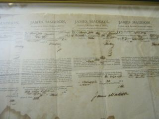 Presidents JAMES MADISON JAMES MONROE Dual AUTOGRAPH Ship ' s Papers SIGNED 1812 8
