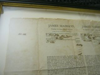 Presidents JAMES MADISON JAMES MONROE Dual AUTOGRAPH Ship ' s Papers SIGNED 1812 9