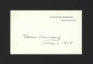Grover Cleveland Signed Dated White House Card 1895 President Bold Jsa Loa