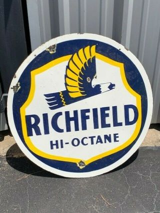 "30 "" Richmond Gasoline & Oil Porcelain Sign.  Double Sided Garage Mobil Shell"