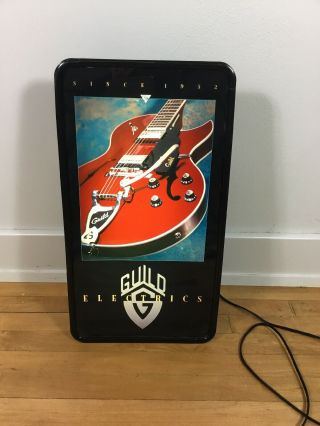 Guild Electric Guitar Advertising Lighted Sign Banner