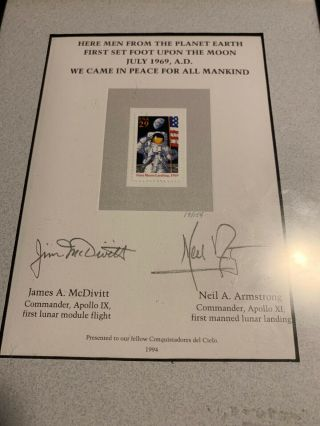 Neil Armstrong And James Mcdivitt Signed Stamp