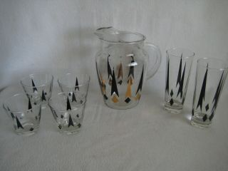 Mcm Vintage Mid - Century Modern Cocktail Pitcher And Glass Set