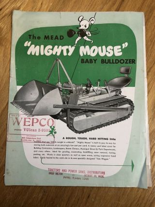 "Rare Mead ""mighty Mouse"" Mini Dozer Tractor Brochure Sales Advertising"