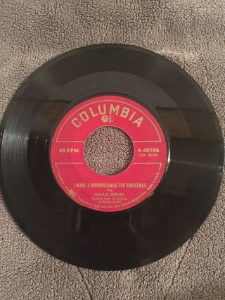 """ I Want A Hippopotamus For Christmas "" Gayla Peevey Columbia - 40106 1953 Listen"