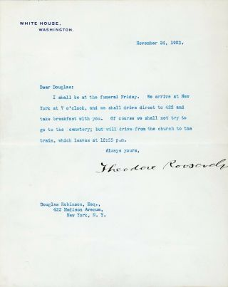 Theodore Roosevelt Signed Letter As President.  Bold Full Signature.