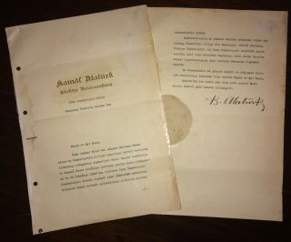 1937 Turkey Republic Mustafa Kemal Ataturk Signed Letter Founder First President
