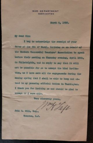 President William H Taft Beckett Authenticated Signed March 8,  1908 Letter