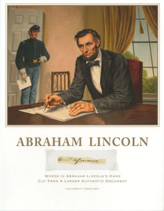 "Abraham Lincoln "" Last Aforesaid "" Hand - Written Words From Larger Document"