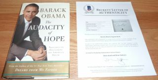 Beckett - Bas Barack Obama Audacity Of Hope 1st Edition Autographed - Signed Book 58