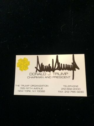 Donald Trump Signed Business Card Fifth Ave.  Address
