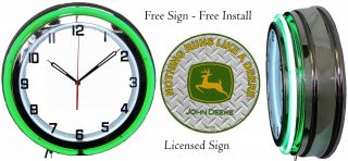 "Nothing Runs Like A John Deere Sign With 19 "" Double Neon Clock Green Neon"