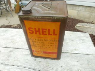 Vintage 5 Gallon Shell Gas Station Motor Oil Tin Advertising Can Container