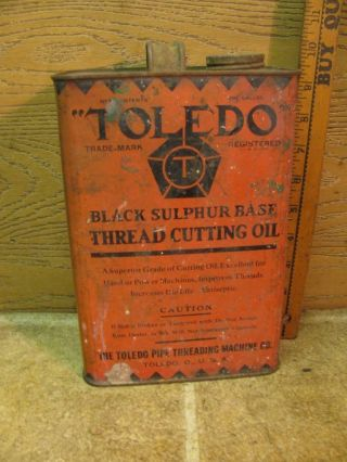 Vintage Toledo 1 Gallon Pipe Threader Threading Cutting Oil Toledo Ohio Tin Can
