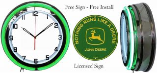 "Nothing Runs Like A John Deere Green Sign With 19 "" Neon Clock Green Neon"