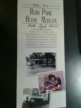 Ruth Hyde Paine Authentic Hand Signed Flyer - John F Kennedy Assassination - Rare