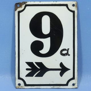 Antique French Porcelain Enameled Metal Sign House Number 9 Arrow White Black