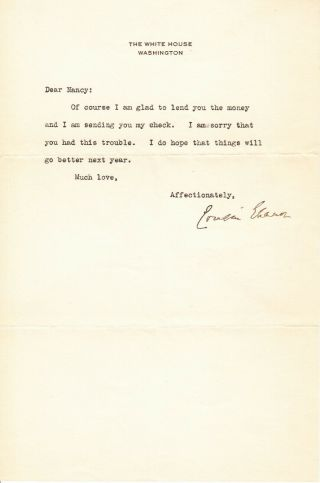 Eleanor Roosevelt.  Tls As First Lady - She Lends Money To Her First Cousin Nancy