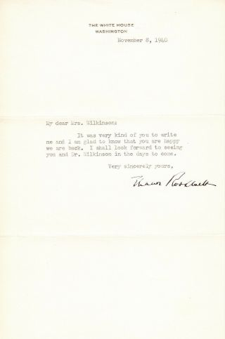 Eleanor Roosevelt.  Tls As First Lady To Wife Of Rector Of St.  Thomas Church In Dc