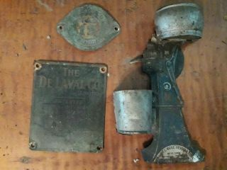 Antique Delaval Cream Separator Match Holder,  2 Brass Name Plates