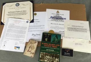 Rare Wwii Medal Of Honor Recipient Grouping D - Day Awards Certificates Signed