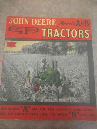 1937 John Deere Unstyled A And B Brochure