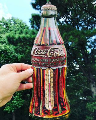 Rare Antique Tin Advertising Coca Cola Coke Bottle Christmas 1923 Thermometer