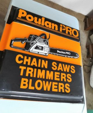 "Vintage Poulan Pro Dealer Sign,  Chainsaws Trimmers Blowers,  36 "" X 36 "",  Embossed"