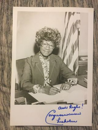Shirley Chisholm Signed Autographed 5 X 7 Photo Piece Of History