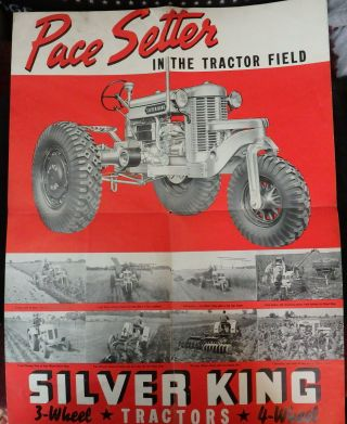 1938 Silver King Tractor Poster,  Specifications - Fate - Root - Heath Company