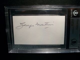 George Martin Famed Beatles Record Producer Signed Index Cut Beckett Authentic